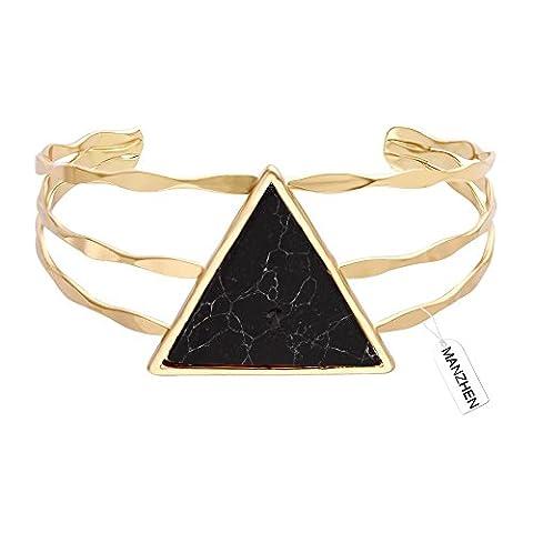 MANZHEN 3 Colors Geometric Triangle Black Onyx Marbled Wide Bangle Open Cuff Natural Stone Bracelet Bangles - Onyx Stone Bangles