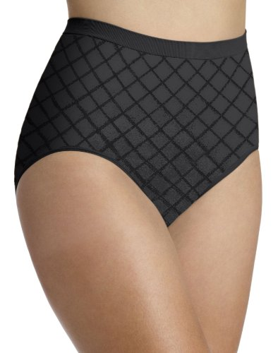 Barely There Underwear - Barely There Seamless Diamond Microfiber Brief, 6/7-Black