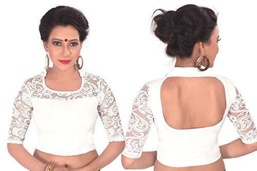 Dancing-Girl-Readymade-Blouse-Net-Sarees-Indian-Saree-White-Stitched-Blouse-Lycra-F11