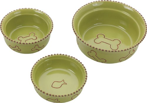 Ethical Pet Products (Spot) DSO6905 Terra Cotta Stoneware Dog Dish, 5-Inch, Green Decorative Dog Bowls