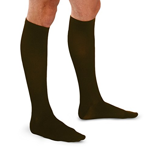 Therafirm  Men's Trouser Socks – 20-30mmHg Moderate Compression Dress Socks (Brown, Large)