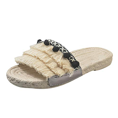 (LIM&Shop Women's Tassels Slippers Fringed Pearl Sandals Summer Beach Flip Flop Outdoor Slip On Strapless Wedding Shoes)