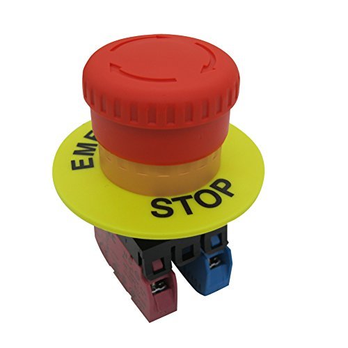 TWTADE/Red Mushroom Cap 1NO 1NC DPST Emergency Stop Push Button Switch AC 660V 10A (Quality Assurance for 3 Years) YW1B-V4E11R