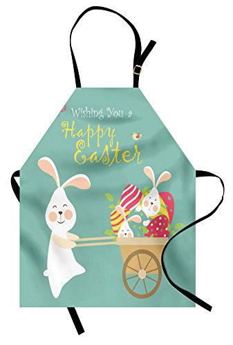 Ambesonne Easter Apron, Smiling Bunny with a Cart Full of Colorful Eggs and Baby Rabbits Spring Holiday, Unisex Kitchen Bib with Adjustable Neck for Cooking Gardening, Adult Size, Pale - Easter Apron