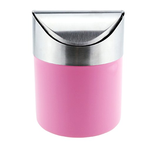 Samyoung Recycling Trash Can Fashion Mini Brushed Stainless Steel Wave Cover Counter Top Trash Can Garbage Bin Wastebasket Perfect for the Kitchen Bathroom Office Car Use(Pink) - Bin Tabletop