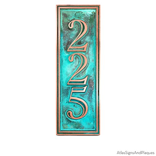 Hesperis Vertical Address Plaque 3 Number 5x15 - Raised Copper Verdi Coated by Atlas Signs and Plaques