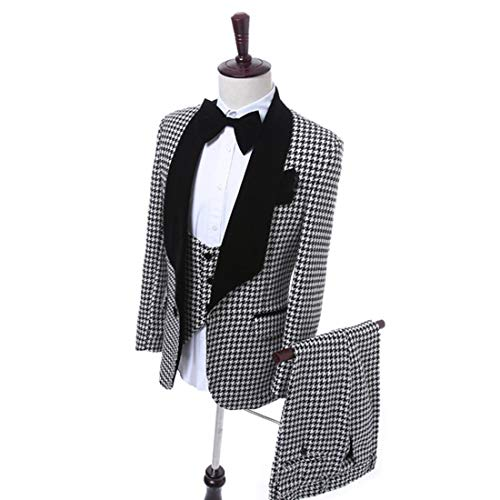 Houndstooth Velvet Lapel Men Suits - Premium 3 Pieces Grid Plaid Slim Fit Check Tuxedo Black Velvet Shawl Lapel Wedding Suits ()