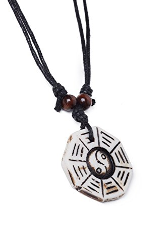 Yin Yang Bagua Pendant Bone Imitation Adjustable Cord Necklace Men Accessories (Black, White, Bagua)