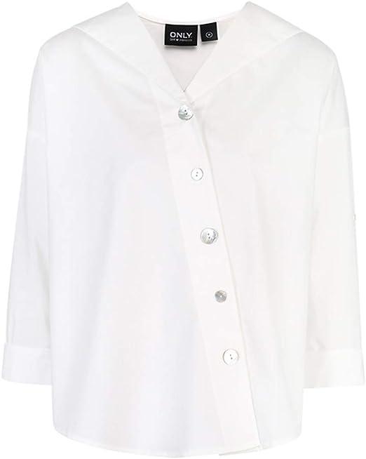X Blusa Casual para Mujer Camisa Blanca Dulce con Cuello Azul Marino Camisa Delgada Suelta Mujer: Amazon.es: Productos para mascotas