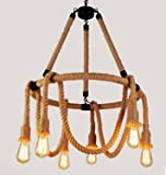 Loft handmade Round Brown Hemp Rope 6-Light Chandelier Pendant Light Ceiling Lamp Vintage Country Style American Industrial Artistic Island Light Fixture