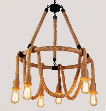 Polly Rope (Loft handmade Round Brown Hemp Rope 6-Light Chandelier Pendant Light Ceiling Lamp Vintage Country Style American Industrial Artistic Island Light Fixture)
