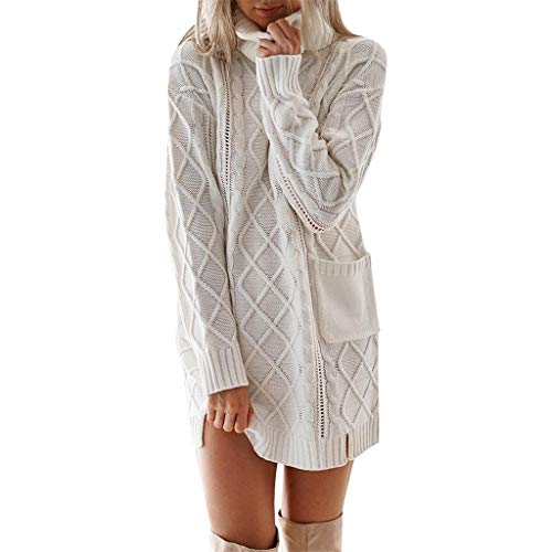 Forthery-Women Slim Fit Cable Knit Long Sleeve Sweater Dress(White,M)