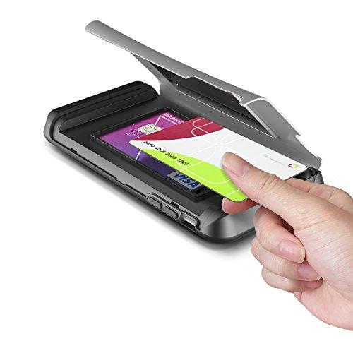 Verus Damda Veil harte Schutzhülle mit Kickstandfunktion, eingebautem Spiegel und Kartenhalter für Apple iPhone 6 Plus hellsilber