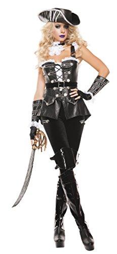 Starline Women's Noir Pirate Sexy 4 Piece Corset Costume Set, Black, Medium ()