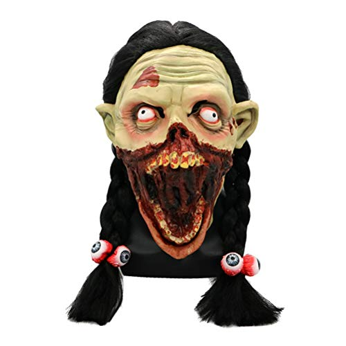 Halloween Horror Grimace Girl Ghost Mask Scary Zombie Emulsion Skin with Hair]()