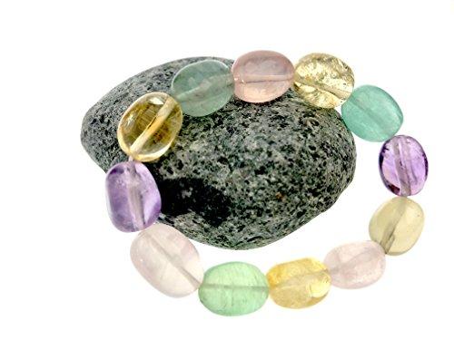 Beauty & the Beads Bracelet Lady Gift Gemstone Semi-Precious Stone Tumble 12x16 Rose Quartz Multi Colour
