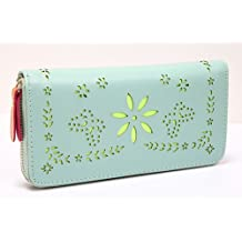 Big Mango High Quality Multipurpose Floral Cut Outs Cell Phone PU Leather Wallet / Clutch Purse for Apple iPhone 5 5c 5s iPhone 4 4s Samsung Galaxy S3 S4 with Multiple Card Holders & Separated Compartments & Zipper Design - Mint Green