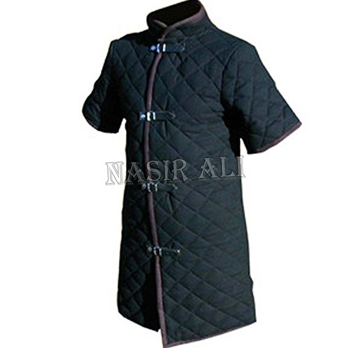 Armor Medieval (Nasir Ali Thick Black Color Viking Gambeson Medieval Padded Collar Short Sleeves Armor)