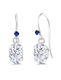 925 Sterling Silver Dangle Earrings Forever Classic (IJK) Oval 1.80ct (DEW) Created Moissanite by Charles & Colvard and Simulated Sapphire