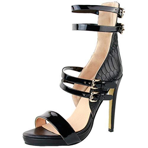 Serpent la Cuir Talon Bride à Kolnoo Femmes Sandales Chaussures Mode d'été Boucle à Black zqIXUT