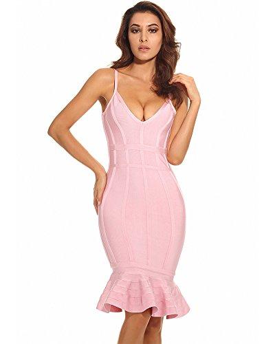 Maketina Women's Mermaid Spaghetti Strap V Neck Bodycon Midi Cocktail Bandage Dress Pink L