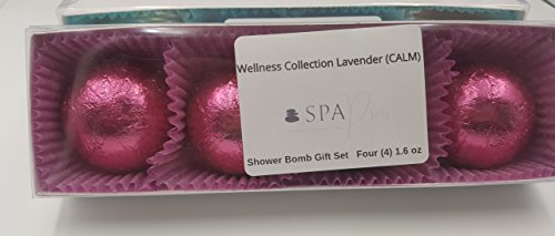 Wellness Collection Lavender Calm Burst (4-Pack) Aromatherapy Fizzing Shower Bombs by Spa Pure Naturals