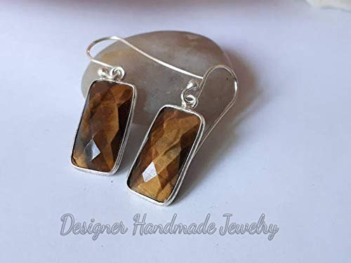 Genuine Tiger Eye Earring, Anniversary Gift Earring, Big Gemstone Earring, 925 Sterling Silver Earring, Gift For Her, Long Cushion Gemstone Earring, Dangle Silver Earrings