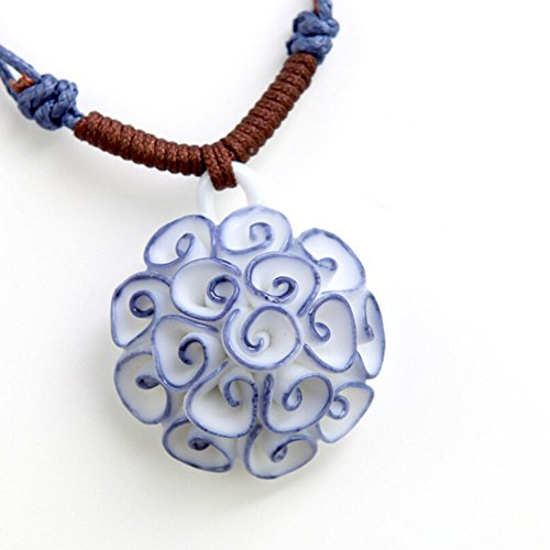 Homemade Kids Biker Costume (Adorable Woman Chinese National Style Blue White Carnation Flower Swirl Cluster Ceramic Pendant Necklace)