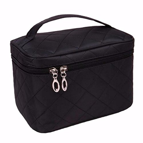 LOUISE MAELYS Zipper Travel Cosmetic Bag Makeup Brush Holder Top Handle Toiletry Bag Organizer (Cosmetic Bag Quilted)