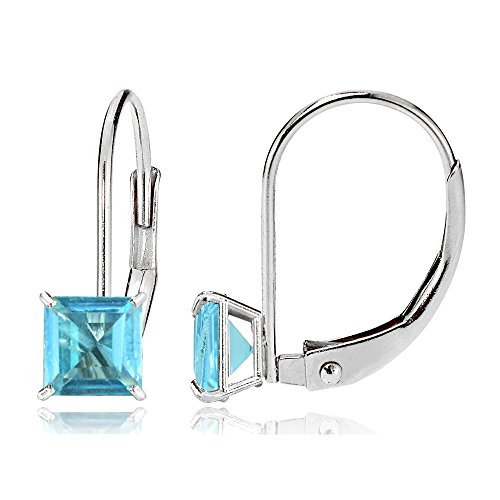 - Bria Lou 14k White Gold Swiss Blue Topaz Gemstone 6mm Square-Cut Leverback Drop Earrings