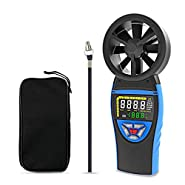 Handheld Digital Anemometer - BTMETER BT-8805 Color Screen Wind Speed Meter Gauge for Wind Chill Temperature Speed Indicator,with Backlit Max/Mini/Avg for HVAC CFM Shooting Boats Drone
