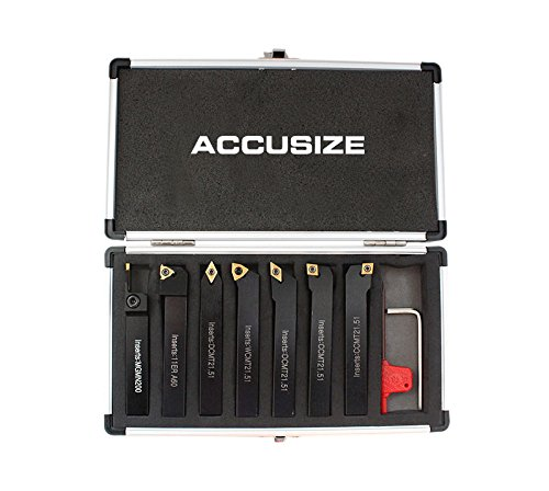 (Accusize Industrial Tools 1/2'' Shank 7 Pc Indexable Carbide Turning Tool Set in Fitted Box, 2387-2004)