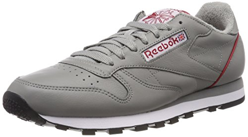 Classic Power Homme Leather Baskets Solid Grey Gris Archive Reebok White Black Red 6wgd7zqc