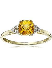 10k Yellow Gold, November BirthStone, Citrine and Diamond Ring, Size 8