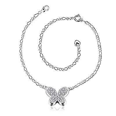 Xiaodou Zircon Butterfly Charm Adjustable Chain Silver Plated Foot Anklet Chain Bracelet for Women free shipping