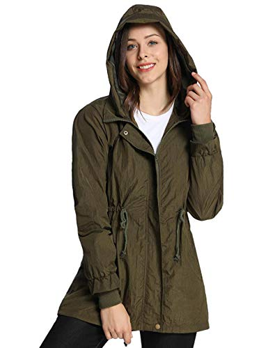 iloveSIA Women's Military Jacket Rain Repellent Trench with Hood