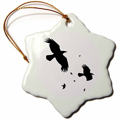 3dRose LLC orn_78697_1 Porcelain Snowflake Ornament, 3-Inch, A Murder of Crows-Animal, Bird, Crow, Halloween, Myth, Mythology, Silhouette -