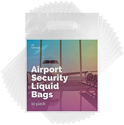 Ati Nomad Neceser recerrable para líquidos para el equipaje de mano, conforme con las normas de seguridad aeroportuaria – pack de 10