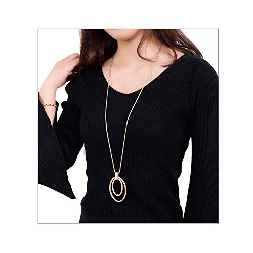 - NVENF Long Sweater Chain Double Circle Pendant Necklace Bold Snake Chain Women Statement Necklace (Gold-tone)