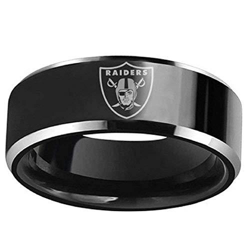 (Sping Jewelry Oakland Raiders Football Ring Black Titanium Steel Men Sport Rings Band for Men Women)