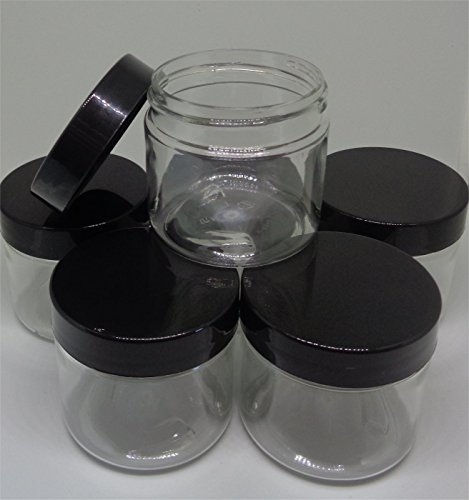 Small 2 Oz Clear Plastic Jars With Smooth Black Lids Health Beauty Crafts Paint Diy Storage Containers  Bag Of 12