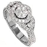 SALE .79CT PAVE DIAMOND VINTAGE ENGAGEMENT RING ANTIQUE ANNIVERSARY WHITE GOLD