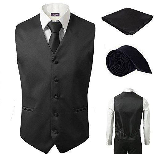 - 3 Pcs Vest + Tie + Hankie Men's Fashion Formal Dress Suit Slim Tuxedo Waistcoat Coat (Small, Black)