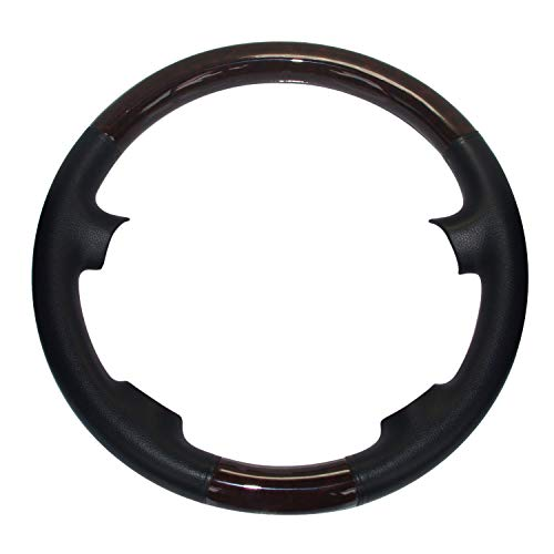 Pursuestar Black Leather Brown Wood Steering Wheel Protector Cover Cap for 4-Spokes 2000-2007 Mercedes Benz W203 C Class C230 C240 C280 C350 C43 AMG