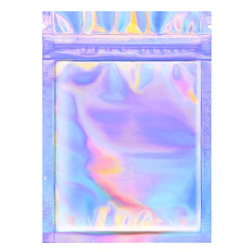 Price comparison product image AOPOO 100 Pieces Smell Proof Bags Ziplock Bag Flat Foil Pouch Bag for Favor Food Storage,  Holographic Color (3 x 5 Inches)