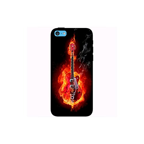 Coque Apple Iphone 5c - Guitare en feu