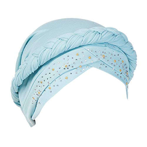 Sunshinehomely Elegant Women's Flower Muslim Cancer Chemo Hat Turban Cap Cover Hair Loss Head Scarf (Hot Drilling Sky Blue)