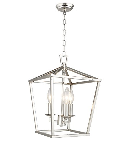 "Cage Pendant Light Lantern Iron Art Design 3-Heads Candle-Style Chandelier Ceiling Light Fixture for Hallway Kitchen Dinning Room Bar Restaurant (W 10"" X H 14"") (Silver)"