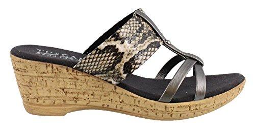Easy Street Women's, Marta Mid Heel Wedge Sandals Pewter 6 (Easy Street Mid Heel Sandals)