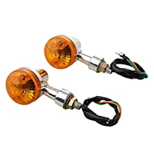 Baoblaze 1 Pair Universal Amber Motorcycle Turn Signal Direction Indicator Light Lamp - Type 3